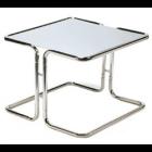 """GRANDE TABLE FABRIQUÉE DE TUBES ET UNE PLAQUE CHROMÉE SUR LE  DESSUS.  26'' X 26'' X 19""""H - CHROME (37 LBS)"""